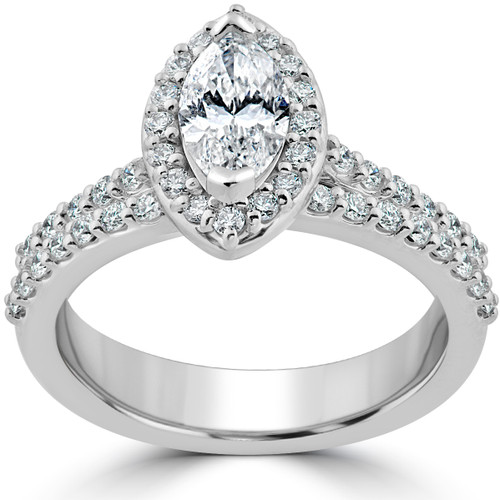 1 1/2ct Marquise Halo Diamond Engagement Wedding Ring Set White Gold Enhanced (I/J, I1-I2)