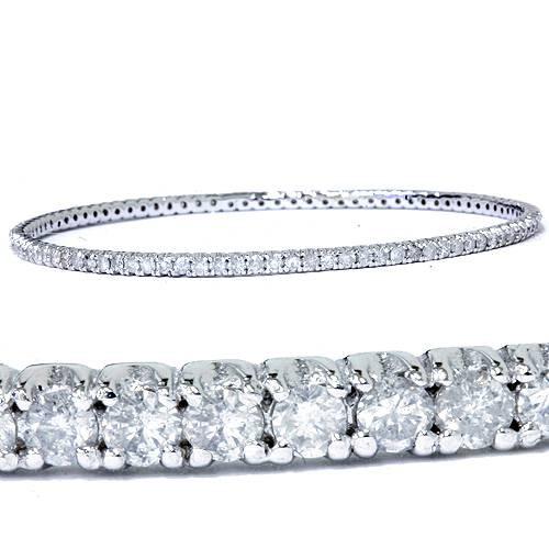 3 1/3ct White Gold Bangle Diamond Bracelet (G/H, I3)