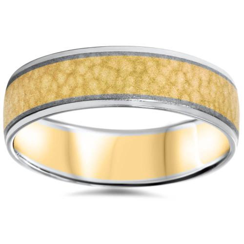 Mens 14K Gold 2 Tone Hammered Comfort Fit Wedding Band