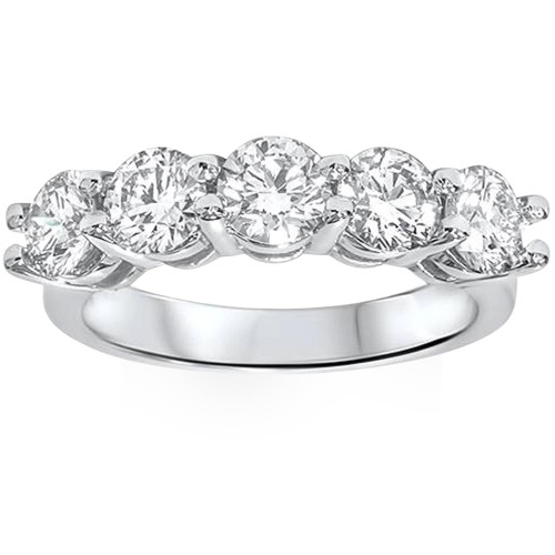 2ct Real Round Solitaire Diamond Wedding Anniversary 14K White Gold Ring (G/H, I1)