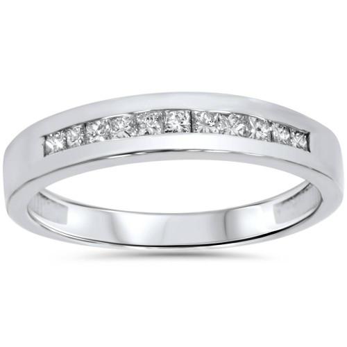 3/8CT Princess Cut Diamond Wedding Channel Set Ring 14K White Gold (G/H, I2)