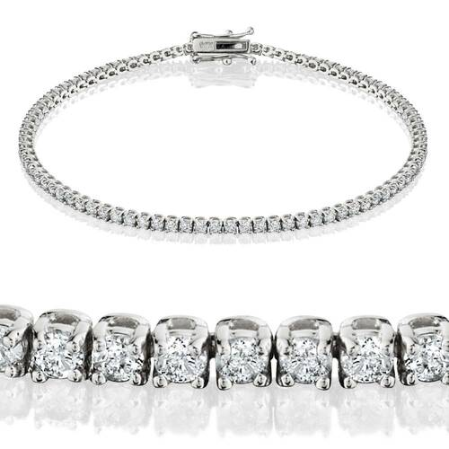 "2ct Lab Grown Diamond Tennis Bracelet 14K White Gold 7"" ((G-H), SI(2)-I(1))"