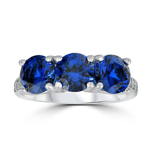 3 3/4ct Diamond & Synthetic Blue Sapphire Ring 10K White Gold 3- Stone (I/J, I1-I2)