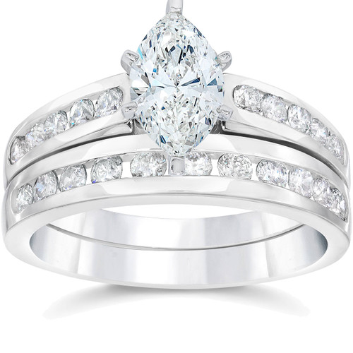 2 Carat Marquise Enhanced Diamond Engagement Wedding Ring Set White Gold 14karat (G/H, I1)