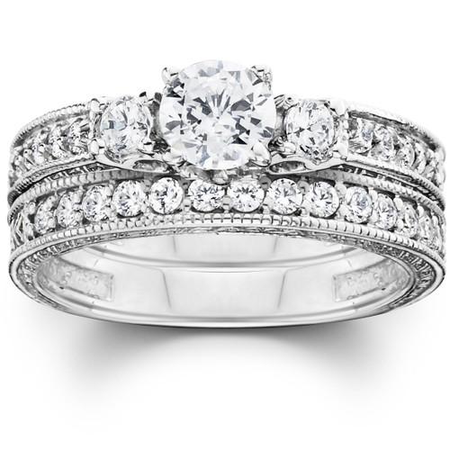1 1/4ct Vintage Diamond Engagement Wedding Ring Set 14K (G/H, I1)