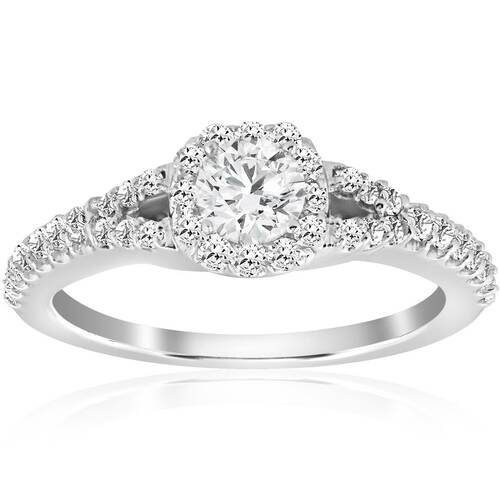 1.00 CT Round Cut Cushion Halo Diamond Engagement Ring (E, SI(1)-SI(2))