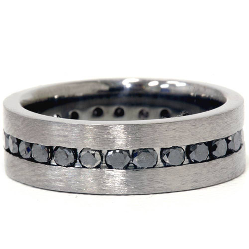 1 1/10ct Black Diamond Brushed Wedding Mens Eternity Band 14K Black Gold (Black, VVS2)