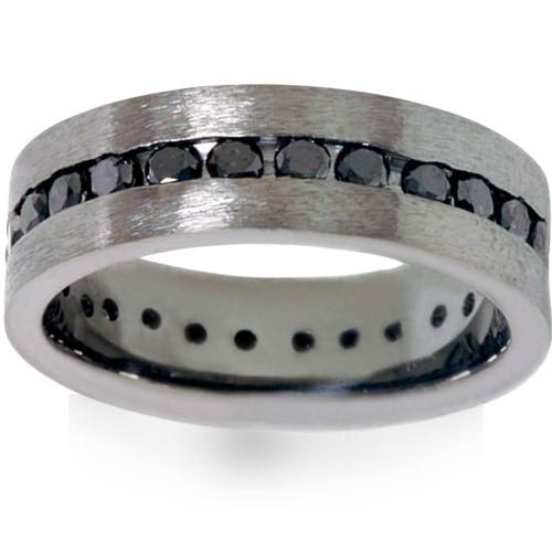 1 1/10ct Black Diamond Brushed Wedding Mens Eternity Band 14K Black Gold (Black, VVS2)