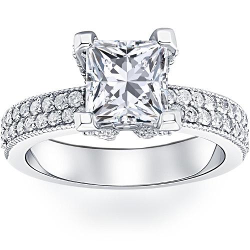 2 7/8ct Princess Cut Pave Diamond Engagement Ring 14K White Gold (H/I, I1)