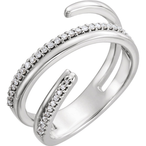 14kt White 1/6 CTW Diamond Negative Space Ring Right Hand Twist Ring (H/I, I1-I2)