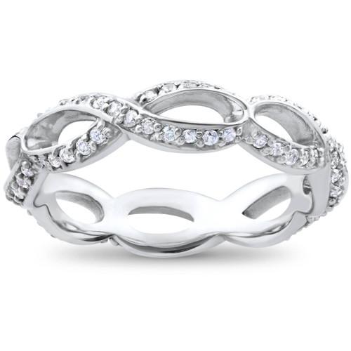 3/4ct Diamond Infinity Eternity Ring 14K White Gold (H/I, I1-I2)