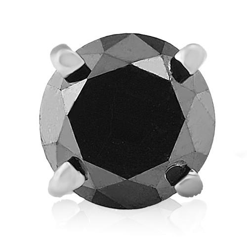 Mens 1/2ct Black Diamond Single Stud Earring 10K White Gold (Black, AAA)