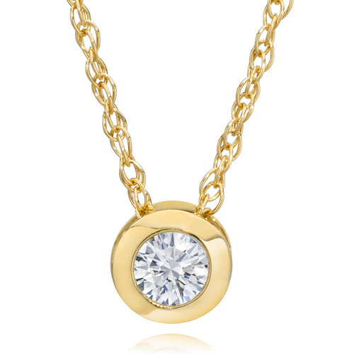 "14K Yellow Gold 1/4 ct Round Diamond Solitaire Bezel Pendant Necklace 18"" (L, SI3-I1)"