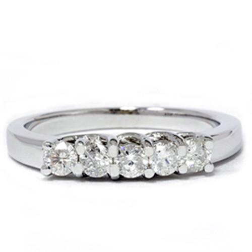 White Gold 1/2ct 14K Diamond Wedding Guard Ring New (G/H, I1)