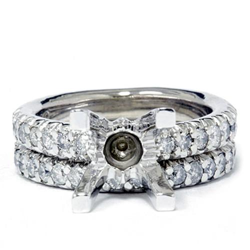 1 1/2ct Pave Diamond Engagement Wedding Ring Set 14K White Gold (G/H, I2)