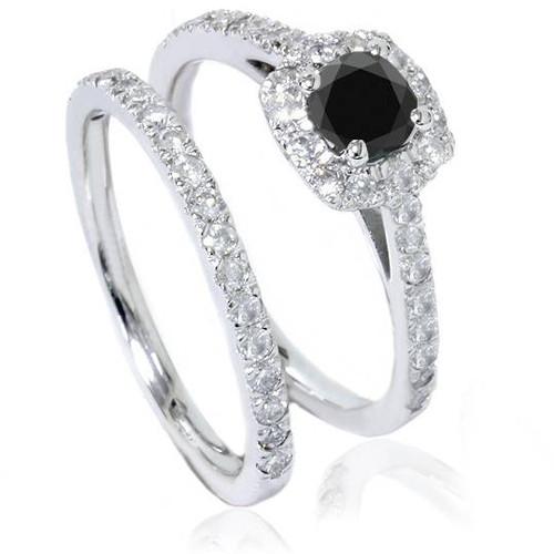 7/8ct Cushion Halo Black Diamond Engagement Ring Set 14K White Gold (G/H, I1-I2)