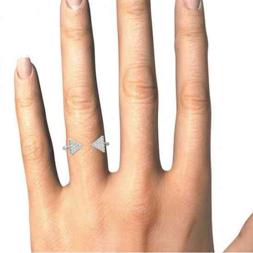 1/5ct Diamond Ring Open Triangle Fashion Right Hand Split Band White Gold (I, I2-I3)