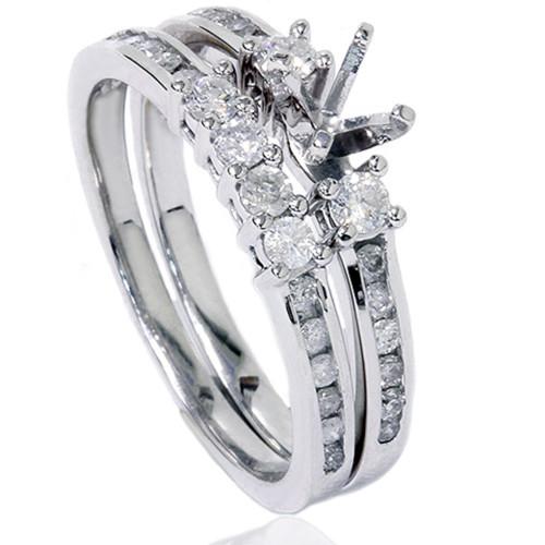 1/2ct Diamond Engagement Wedding Ring Semi Mount 14K White Gold (G/H, I2)