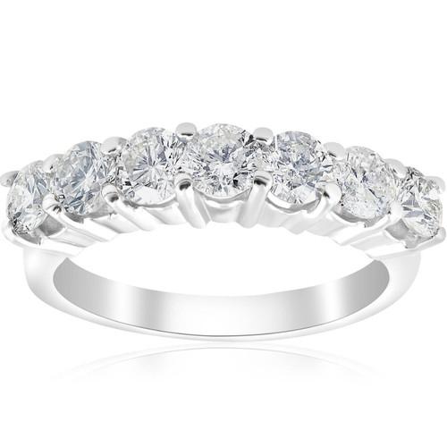1 3/4 ct Round Diamond Wedding Anniversary 14K White Gold Ring (G/H, I1)