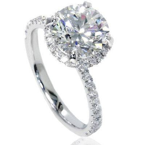 2 1/2ct Halo Diamond Engagement Ring 14K White Gold (G/H, SI2-I1)
