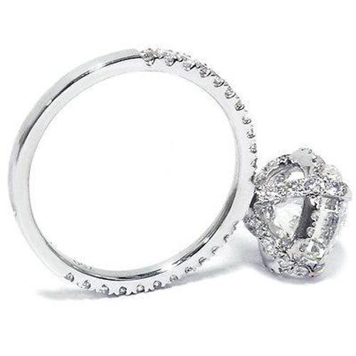 2 1/2ct Halo Diamond Engagement Ring 14K White Gold