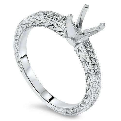 1/10ct Vintage Diamond Ring Setting 14K White Gold (H/I, I2-I3)