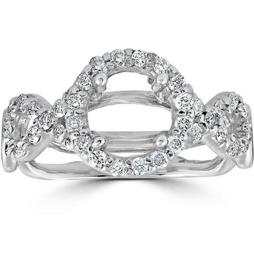 3/4ct Pave Halo Diamond Ring 14K White Gold (G/H, I1)