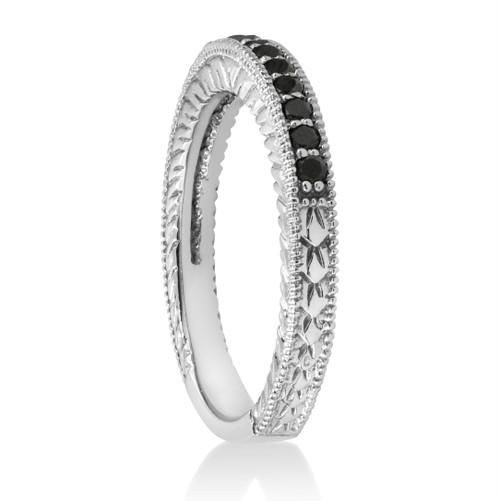 1/6ct Black Diamond Wedding Anniversary Vintage Ring (Black, AAA)