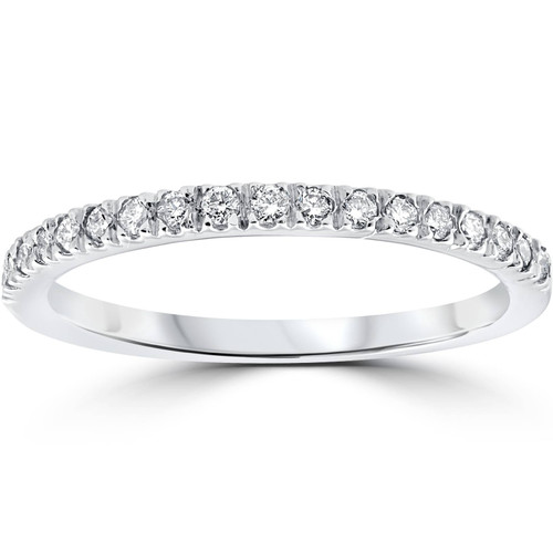 1/3ct Pave Diamond Wedding Ring 14K White Gold (G/H, I1)