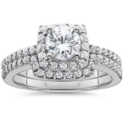 1 1/4ct Diamond Cushion Halo Engagement Matching Wedding Ring 14K White Gold (G/H, I1)