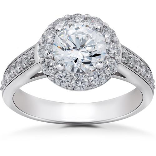 2 ct Halo Eco Friendly Lab Grown Diamond Engagement Ring 14k White Gold (F, VS)