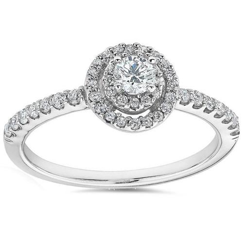 3/4ct Double Halo Round Diamond Engagement Ring 10K White Gold (G/H, I2)