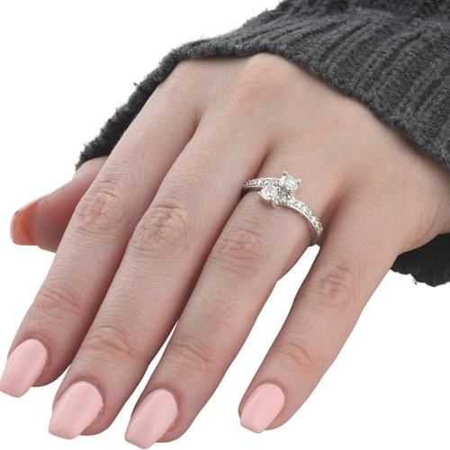 1 Carat Forever Us Diamond Two Stone Engagement Ring 10K White Gold (G-H, I1-I2)