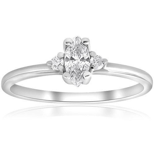 1/3 Marquise Diamond Engagement Ring 10k White Gold (I/J, I2-I3)