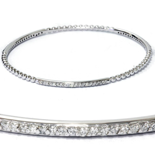 3/4ct Diamond Bangle Stackable Womens Bracelet 14K White Gold (G/H, I1-I2)