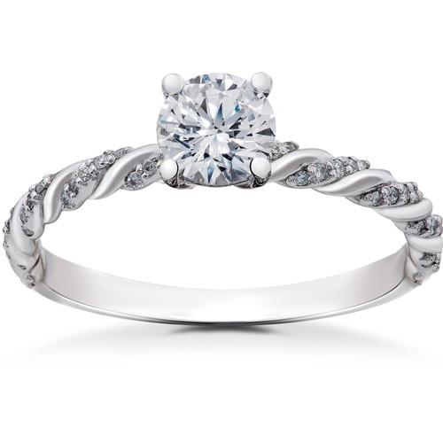5/8 ct Lab Grown Round Eco Friendly Diamond Mia Engagement Ring 14k White Gold (F, VS)