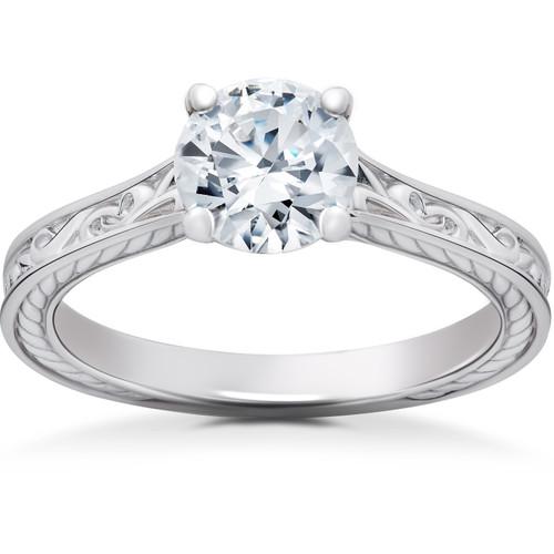 1 ct Eco Friendly Lab Grown Vintage Diamond Solitaire Sophia Engagement Ring 14k (G, SI)