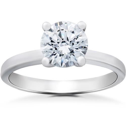 1 1/2 ct Lab Created Eco Friendly Diamond Elizabeth Engagement Ring 14k White Gold (F, VS)