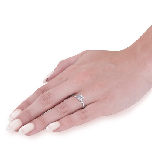 1 1/2 ct Lab Created Eco Friendly Diamond Elizabeth Engagement Ring 14k White Gold (F, VS)