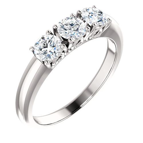 5/8ct 3-Stone Diamond Engagement Ring 14k White, Yellow, or Rose Gold (H/I, I1-I2)