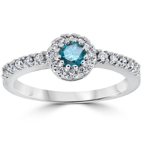3/4ct Blue Diamond Engagement Halo 14k White Gold Wedding Ring (G/H, I2)
