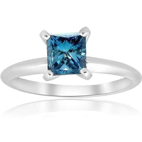 1ct Blue Princess Cut Diamond Solitaire Engagement Ring 14k White Gold (Blue, VS(1)-VS(2))