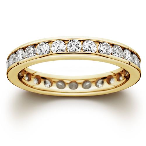 1 1/2ct Channel Set Diamond Eternity Ring 14K Yellow Gold (G/H, SI1)