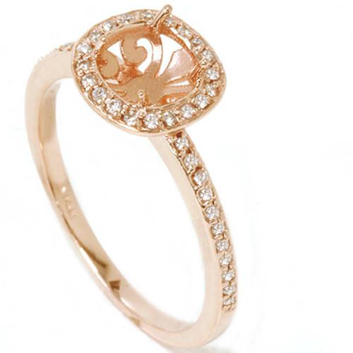 1/3ct Diamond Engagement Halo Ring 14K Rose Gold Setting (G/H, I1)