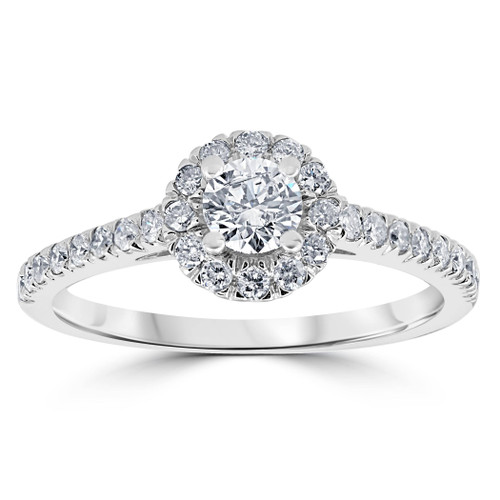 7/8ct Halo Lab Created Diamond Engagement Ring 14K White Gold (F, SI(1)-SI(2))