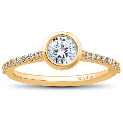 3/4 Ct Charlotte Lab Created Diamond Engagement Ring 14k Yellow Gold (F, VS)