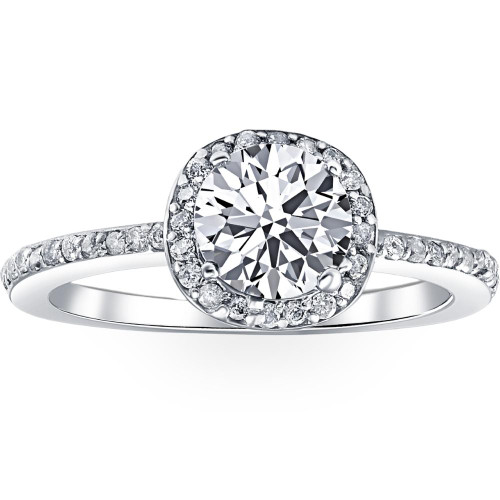 1 1/5ct Enhanced Diamond Engagement Ring Cushion Halo Vintage Ring (G, I2)