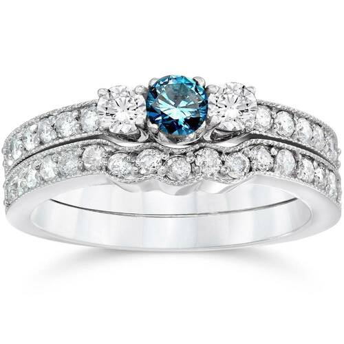 3/4ct Blue Diamond Three Stone Engagement  Wedding Ring Set 14K White Gold (G/H, I1)