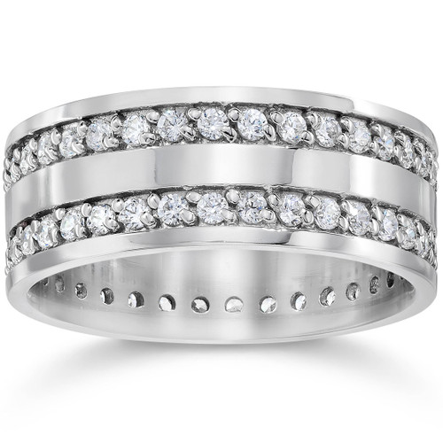 1 1/2ct Double Row Diamond Eternity Ring 14K White Gold (G/H, I1-I2)