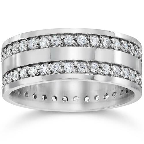 1 1/2ct Double Row Diamond Eternity Ring 14K White Gold (G/H, I1-I2)